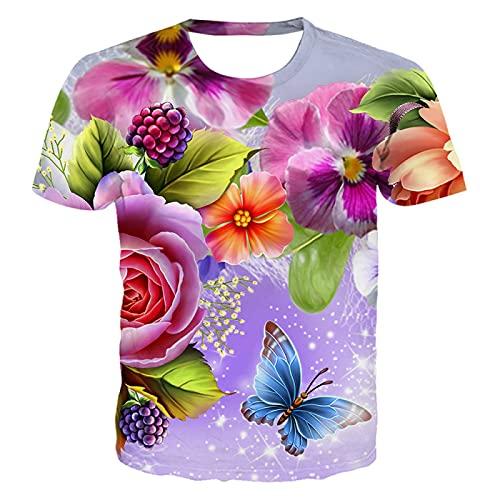DREAMING-Camiseta de Ocio de Verano, Fruta y Flor, impresión Digital 3D, Jersey de Cuello Redondo, Camisa de Manga Corta para Parejas XXL