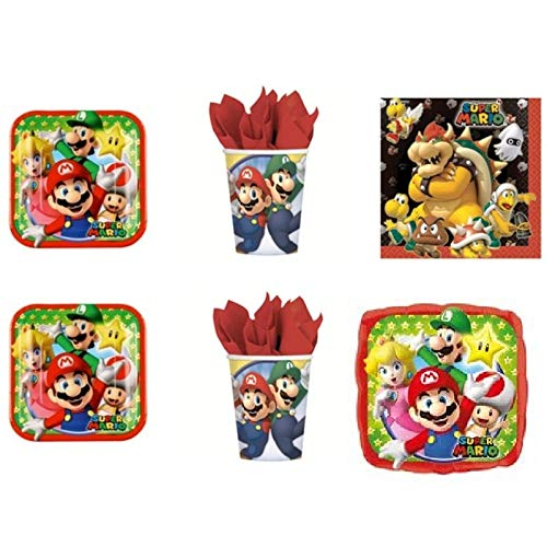 Super Mario Bros Luigi et fête – Kit N ° 11 CDC – (8 assiettes, 8 gobelets, 20 serviettes, 1 ballon Foil)