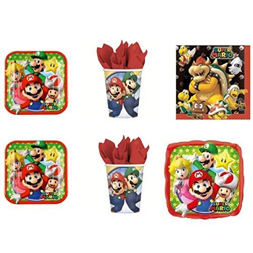 Super Mario Bros Luigi et fête – Kit N ° 14 CDC- (32, 32 verres, 40 assiettes 40 serviettes, 1 ballon Foil)