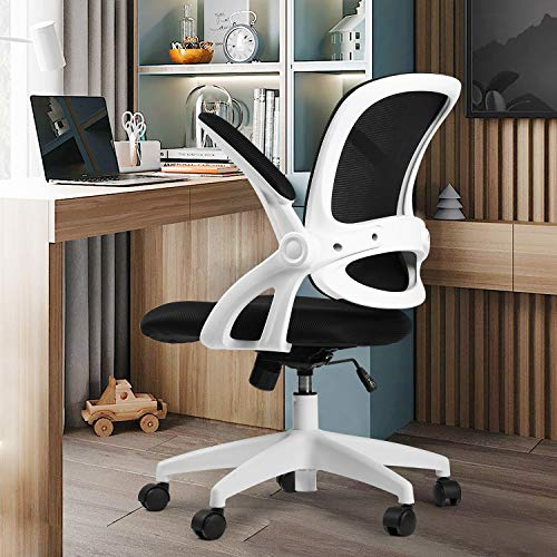 Office Chair Ergonomic DeskComputerChair Mesh Computer Chair with Flip Up Arms Lumbar Support and Mid Back Task Home Office Chair White