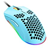 Wired Lightweight Gaming Mouse,6 RGB Backlit Mouse with 7 Buttons Programmable Driver,6400DPI Computer Mouse,Ultralight Honeycomb Shell Ultraweave Cable Mouse for PC Gamers,Xbox,PS4 (Blue)