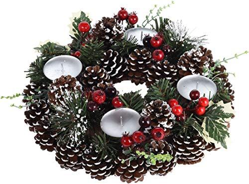 made2trade Adventskranz mit natürlicher Deko und Kerzenhaltern - Schnee