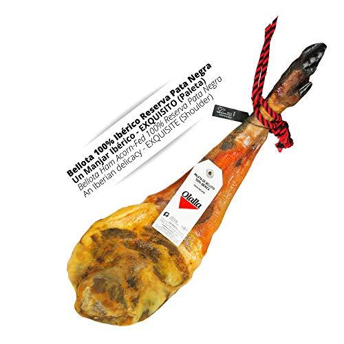 Paleta Jamon de Bellota 100% Iberica Reserva Pata Negra - Jamon Iberico Pata Negra Certificado - Embutidos Ibericos de Bellota - Pieza Completa (5 - 5.5 kg)