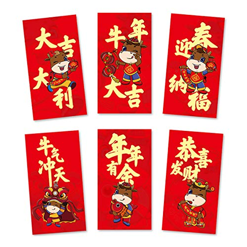 Chinesische Rote Umschläge, 6 Stück 2021 Neujahr Ochse Jahr Rote Pakete, Cartoon Ochse Hong Bao, Geldumschlag Chinesischer, Mondjahr Frühlingsfest Hong Bao für Geburtstag Hochzeitsfeier
