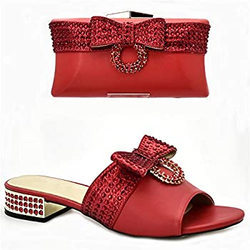 Luxury Shoes Women Designers Nigerian Shoes and Matching Bags Set Decorated with Rhinestone Italian Shoe and Bag Set  10,Red