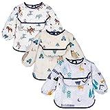YOOFOSS Baberos Bebés con Mangas Impermeables Baberos con Bolsillo Delantero 3 Pack Material de 100% Algodón de 6-24 Meses