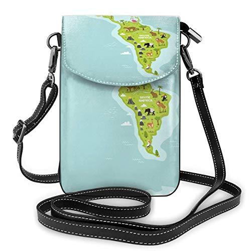 Lsjuee Monedero de cuero ligero para teléfono, pequeño bolso bandolera Mini bolso para teléfono celular Bolso de hombro con 2 correas para mujeres Continentes del mundo con flora y fauna Negro