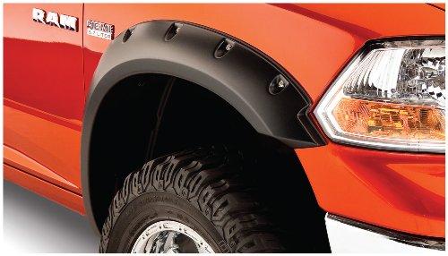 Bushwacker 50915-02 Black Pocket/Rivet Style Smooth Finish 4-Piece Fender Flare Set for 2009-2018 Dodge Ram 1500 (Excludes R/T & Rebel); 2019-2021 Ram 1500 Classic (Excludes Rebel Models)