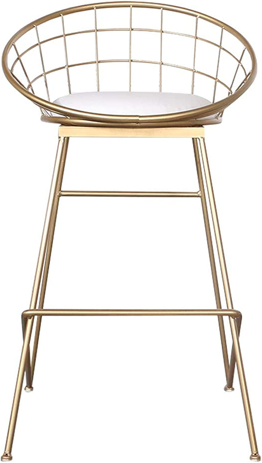 gold Bar Chairs Counter High Footrest Stools Modern Furniture Kitchen Breakfast Dining Chair Metal Legs and Linen Seat, Max.150kg
