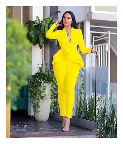 ASVNDD Frauen-Winter-Frauen-Set Anzug Voll Sleeve Raff-Bleistift-Hosen-Anzug Zweiteiler Büro-Dame Outfits Uniform (Color : Yellow, Size : 3XL-Large)