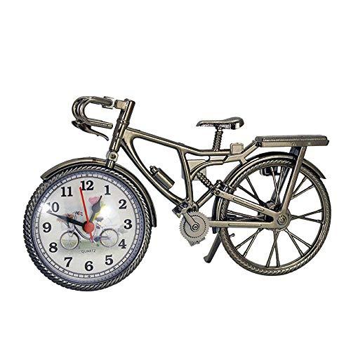 Zarupeng Retro fietswekker, vintage geruisloze wekker met Arabische cijfers, creatieve mini analoog kwartswekker voor home kantoor woonkamer slaapkamer