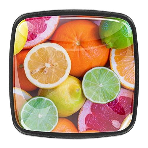 Tiradores cajón cristal 4 piezas perillas gabinete,rebanadas de limón de fruta de uva naranja ,para puerta cocina escritorio tocador