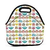 Bolsa de almuerzo portátil de neopreno con diseño de búhos, con correa con cremallera, bolsa de picnic, viajes al aire libre, bolso de mano de moda, para mujeres, hombres, niños y niñas