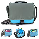 my STITCHERY® Musikbox-Tasche für Hörwürfel (u.a. Toniebox, Tigerbox), voll gepolstert, für ca. 15 Hörfiguren, Kopfhörer & Ladegerät, Umhängetasche, blau