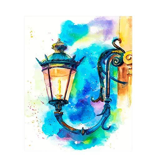 Retro Wandlamp Stilleven Diy Schilderen Op Nummer Wall Art Foto Acryl Schilderij Voor Huisdecoratie, 40X50Cm Zonder Lijst