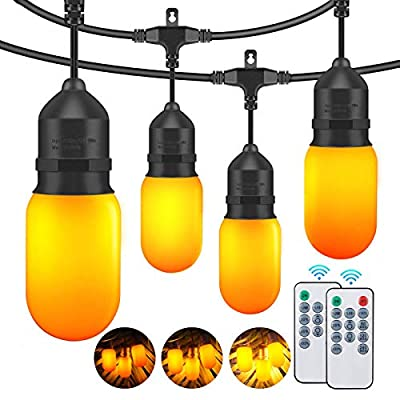2-Pack Flickering Flame String Lights Outdoor, IP65 Waterproof Commercial Dimmable Patio Lights with remote and Shatterproof LED Bulbs, 3 Modes LED Hanging Light for Party Cafe Garden (Total 96ft)