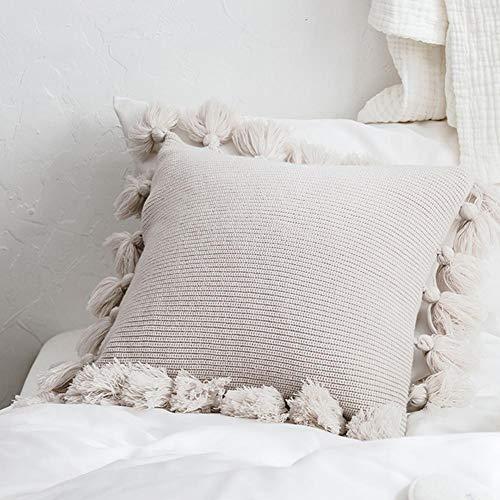 Fundas de cojín de punto con borlas de pompones, funda de cojín de flecos decorativos tejidos, funda de cojín cuadrado cálido para sofá, cama, decoración de acento para el hogar (18
