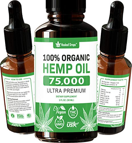 Hemp Oil Extract for Pain, Anxiety & Stress Relief – 75000MG – Organic Hemp Oil for Better Mood, Sleep Support – Pure Hemp Seed Oil – Rich in Omega 3-6-9 Oils, Vitamins & Fatty Acids - Best Herbal Skin Care Supplement