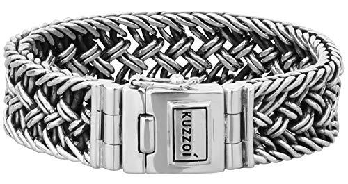 Kuzzoi Silberarmband Herrenarmband aus massivem 925er Sterling Silber, Breite 20 mm, Länge 21 cm, 335104-021