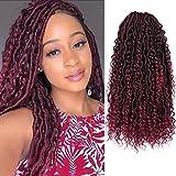 Alimiriam New Goddess Locs Crochet Hair 6 Packs 14 inch Faux Locs Wavy Crochet Curly Hair Faix Locs Crochet hair with Curly Ends River Curls Crochet Hair (6 Packs 14' T/BUG#)