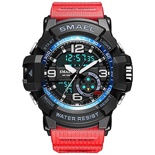 QZPM Relojes Deportivos Digital para Hombre, con Retroiluminación Alarma 50M Resistente Al Agua Multifuncional Grande De La Cara Militar Relojes Electrónicos,Rojo