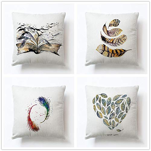 ZYFSKR Cotton Linen Pillow Covers Bench Cushion Sofa Covers Peacock Hand-Painted Feather Cushion Cover Home Decoration For Living Room Office Car Coffee Shop Couch Bed Bedroom 4 Pcs 50X50Cm