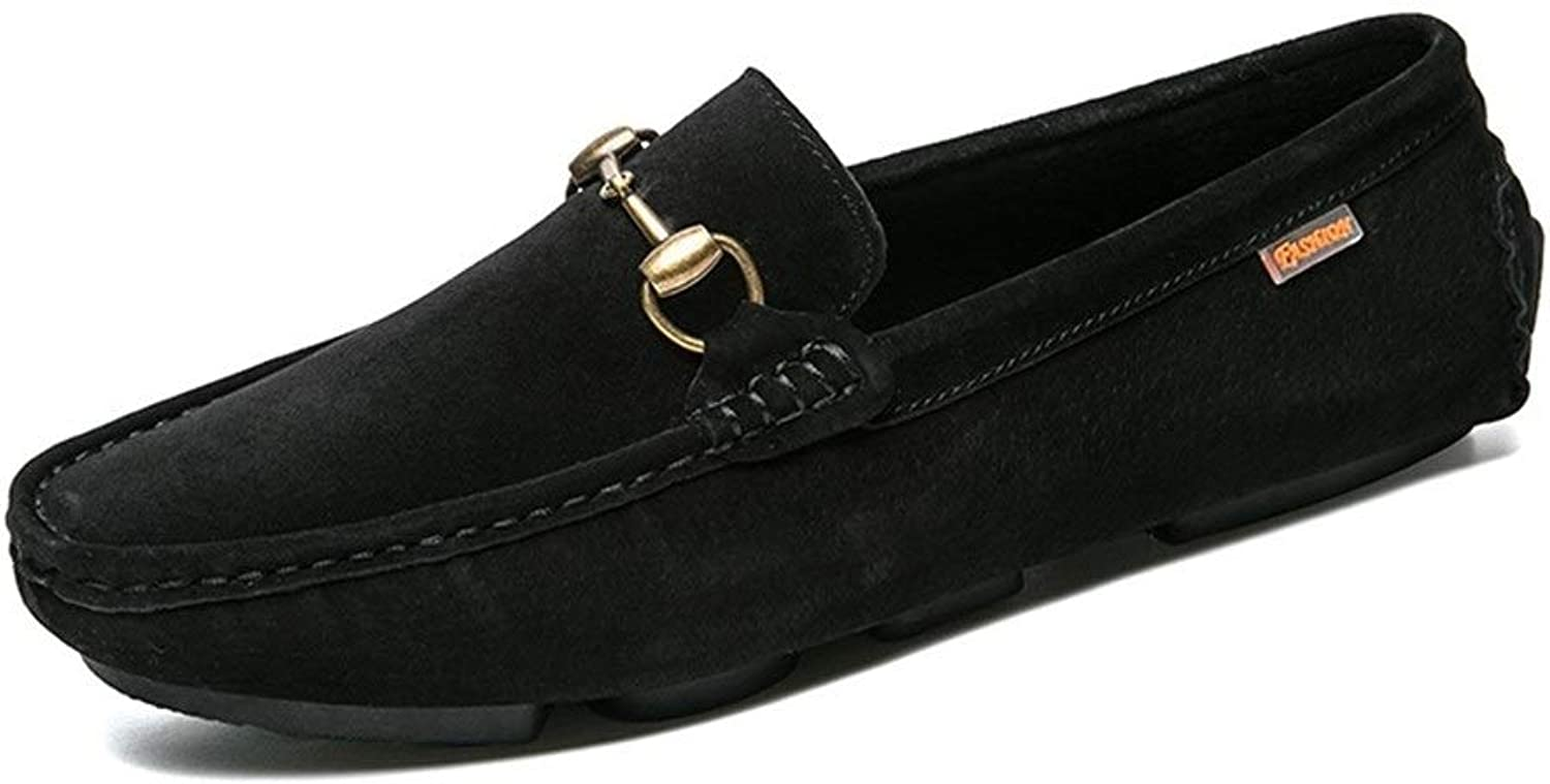 Easy Go Shopping Driving Loafer For Men Boat Moccasins Slip On Pigskin Breathable Metaldecor Cricket shoes (color   Black, Size   8.5 UK)