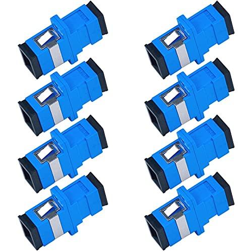 LUOSHEN 100 Piezas SC Adaptador de Conector de Fibra óPtica SC/UPC SM Brida Monomodo Simplex SC-SC APC Acoplador (Azul)