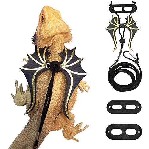 Bearded Dragon Lizard Leash Harness - 3 Size Pack Dinosaur Wing Lizard Harness Leash for Bearded Dragon Lizard Reptiles