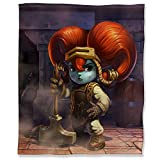 ARYAGO League Legends - Manta ultrasuave (130 x 180 cm, microfibra ligera, antiestática, Blacksmith Poppy