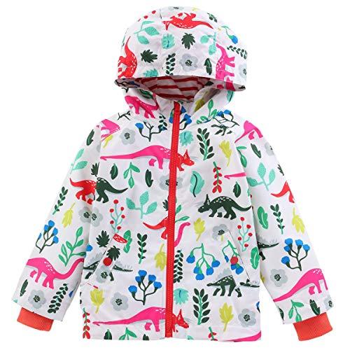 LIUONEXI Kinder Mädchen Jungen Regenazug Tier Aufdruck Regenjacke Regenhose Übergangsjacke Frühling Sommer Herbst,Jacke(weiß),90