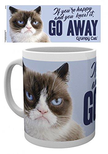 1art1 Katzen, Grumpy Cat, Go Away Foto-Tasse Kaffeetasse (9x8 cm) Inklusive 1x Überraschungs-Sticker