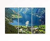 Your bilder24. de–pared lavabo 3piezas Barco de crucero de Geiranger, Noruega fiordo sobre lienzo y bastidor de alta calidad hecho a mano en Alemania.