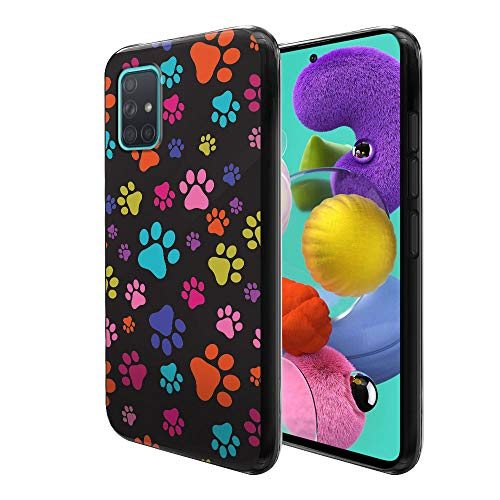FINCIBO Case Compatible with Samsung Galaxy A51 A515 6.5 inch 2019, Flexible TPU Black Soft Gel Skin Protector Cover Case for Galaxy A51 (NOT FIT A51 5G 2020) - Multicolor Paws Dog