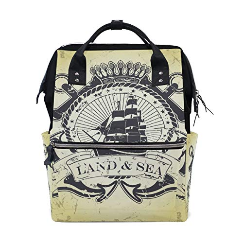 UUwant Sac à Dos à Couches pour Maman Stamp with Nautical Theme Diaper Bag Backpack, Large Capacity Muti-Function Travel Backpack