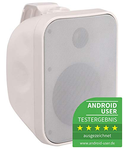 Pronomic OLS-5 WH DJ PA Outdoor-Lautsprecher für Garten, Terrasse, Restaurant (80 Watt, Schutzart IP56, 8 Ohm, 5,25