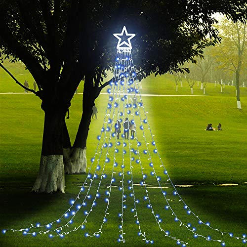 PUHONG Christmas Decoration Outdoor Star String Lights,16.4Ft Christmas Tree Topper Lights 320 LED 8 Modes with 12' Lighted Star,Roof Yard Tree Decor for Christmas Wedding Holiday Party (White)