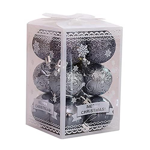 Faderr - Palline decorative per albero di Natale, confezione da 12 pezzi, decorazioni per palline di Natale, ideali per feste, matrimoni, decorazioni natalizie (grigio)