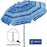 AMMSUN Beach Umbrella 6.5ft Umbrella with Sand Anchor & Tilt Aluminum Pole, UV 50+ Portable Beach Umbrella with Carry Bag for Beach Patio Garden Outdoor(Blue Stripes)