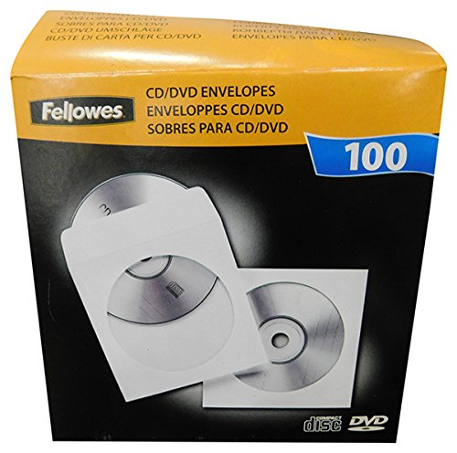 Fellowes 90691 Buste per CD, in Carta, Confezione da 100 Pezzi, Bianco