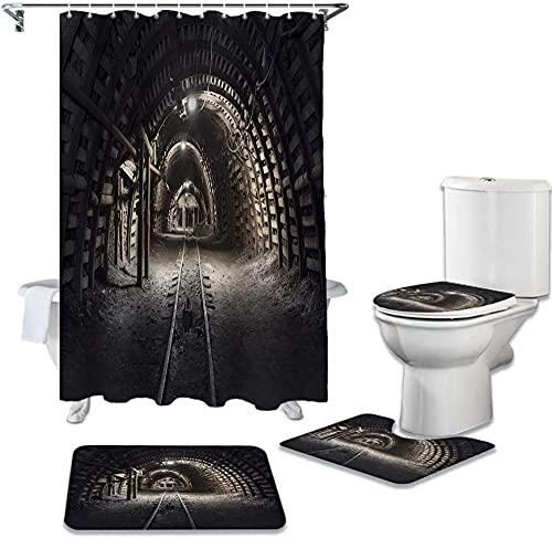 Mine Noir Tunnel Couverture de Toilette Tapis de Bain antidérapant imperméable Rideau de Douche Salle de Bain décoration 180X180Cm (71X71 Pouces)