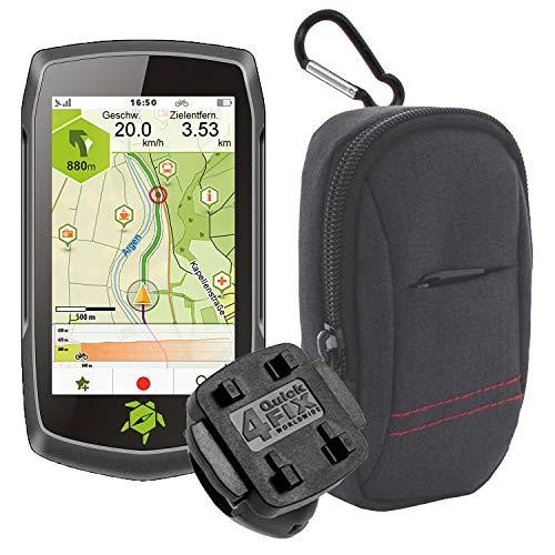 TEASI ONE4 - Fahrrad- & Wandernavigation + Fahrradhalter Lenkerbefestigung + USB Netzteil + Schutzfolie + optionales Zubehör (Teasi one4 + MTB Fahrradhalter, Tasche)