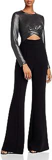 Black Halo Women's Long Sleeve Tailored Jumpsuit, Liquid Metal-Black, 2
