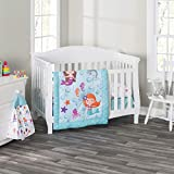 Everyday Kids 3 Piece Girls Crib Bedding Set - Mermaid Adventures - Includes Quilt, Fitted Sheet and Dust Ruffle - Nursery Bedding Set - Baby Crib Bedding Set …