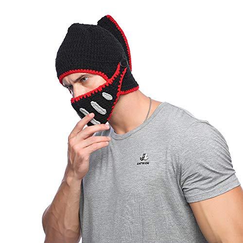 Yvonnelee Damen Herren Römischer Krieger Helm Mütze mit Bart Lustige Bartmütze Maske für Karneval Halloween Cosplay Party 013