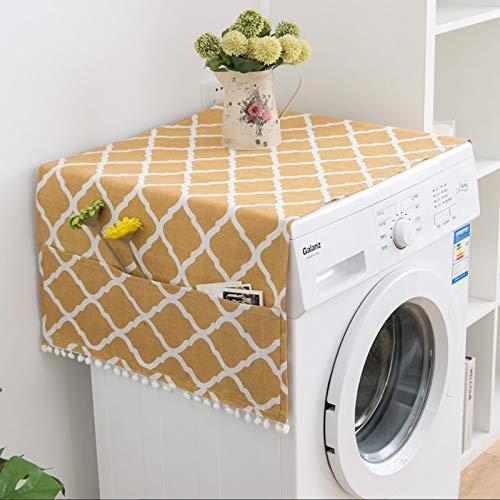 Copertura antipolvere per frigorifero e frigorifero, multifunzione, antipolvere, impermeabile, per lavatrice, stile nordico, motivo geometrico (giallo)