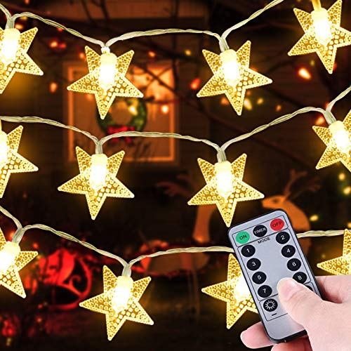TURNMEON 33 Ft 100 LED Stars String Lights Christmas Decor Waterproof Fairy Lights 8 Modes Remote Control Timer Holiday Christmas Decoration Indoor Outdoor Bedroom Home Party Decor(Warm White)