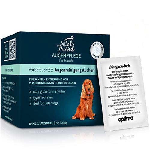 Vital-Friend Augenpflege-Tücher Hund, konservierungsmittelfrei, steril verpackte Tücher für die sanfte Reinigung von Hundeaugen,ideal für unterwegs, 20 Stück