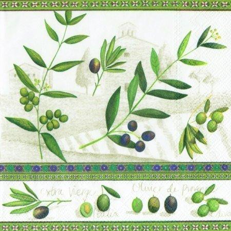 IHR - Servietten - D´ Oliva white - Oliven / Mediterran