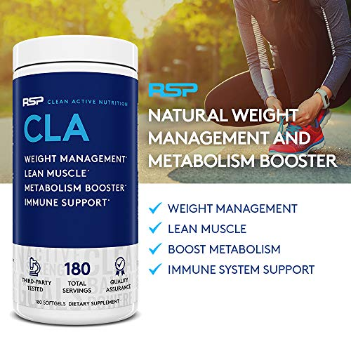 RSP CLA 1000 Conjugated Linoleic Acid Max Strength Softgels, Natural Stimulant Free Weight Loss Supplement, Fat Burner for Men & Women, 180 Ct. (Packaging May Vary) 5
